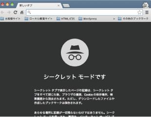 Google Chrome シークレットモード画面